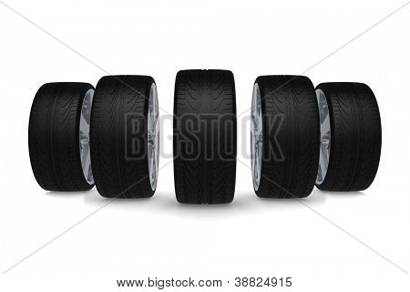 Perspective view of five new car wheels isolated on the white background