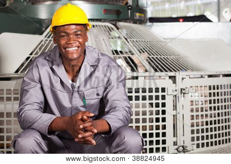 happy african american textile factory worker portrait