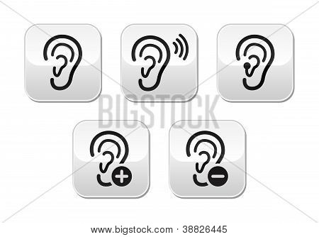 Ear hearing aid deaf problem buttons set