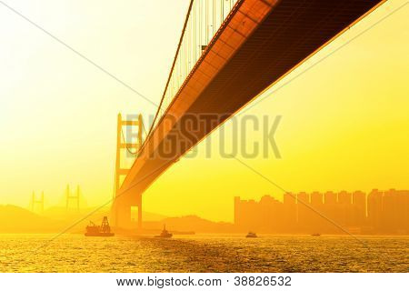 tsing ma bridge at sunset