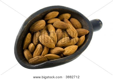 Scoop Of Shelled Almond Nuts