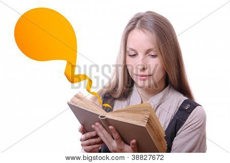 Young woman reading a book with ribbon bookmark, isolated