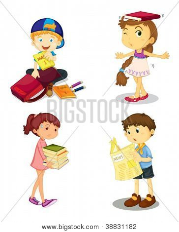 illustration of a kids and books on white background
