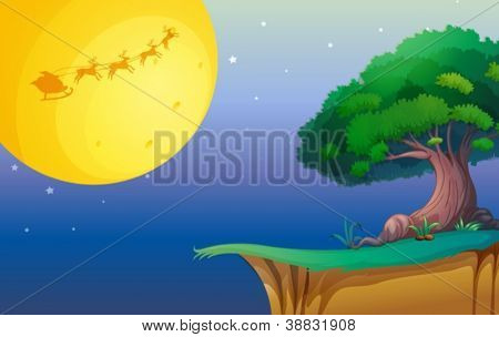 illustration of a moon and a tree in a beautiful nature