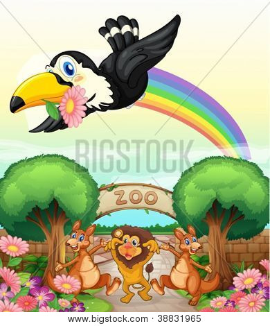 illustration of a zoo and the animals in a beautiful nature