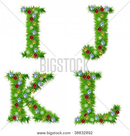 High resolution conceptual Christmas fonts made of green fir tree branches with red,yellow and blue ornaments, with star shape snowflakes, isolated on white background, for holiday or religion design