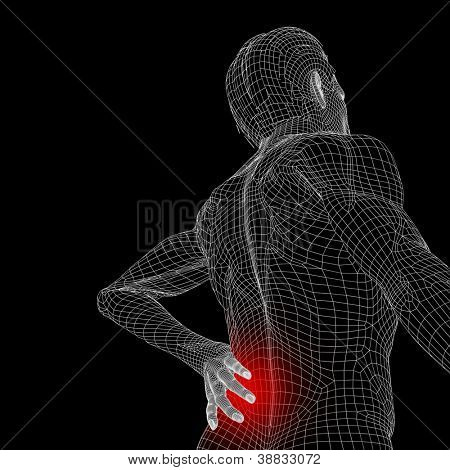 High resolution concept or conceptual 3d human male or man anatomy isolated on black background as metaphor to pain,back,body,spine,backache,medical, injury,medicine,health,hurt,painful,spinal therapy
