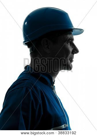 one caucasian man construction worker smiling silhouette portrait in studio on white background