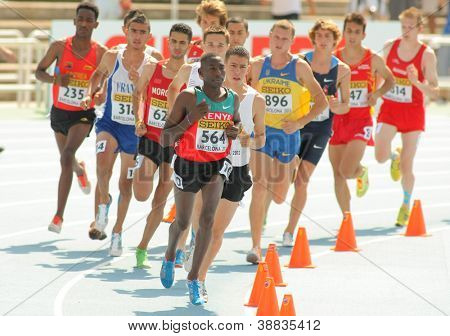 BARCELONA - JULY, 13: Competitors of 3000m steeplechase event during the 20th World Junior Athletics Championships at the Olympic Stadium on July 13, 2012 in Barcelona, Spain