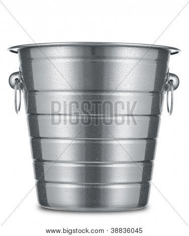 Dewy ice bucket isolated on white background