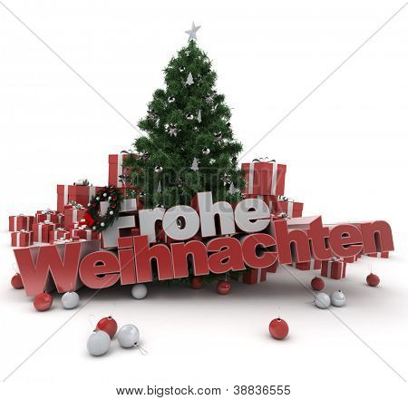 3D rendering of a Christmas d�?�?�?�©cor, with the words happy Christmas in German: Frohe Weihnachten