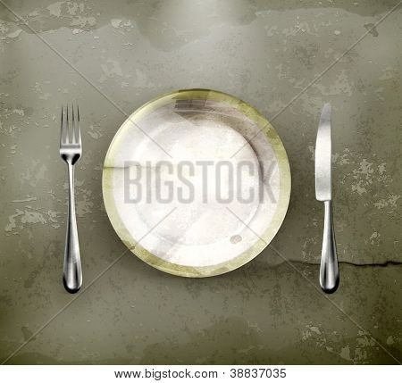 Dinner place setting, old-style vector