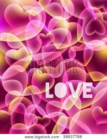 Abstract love background with hearts, clipping mask used
