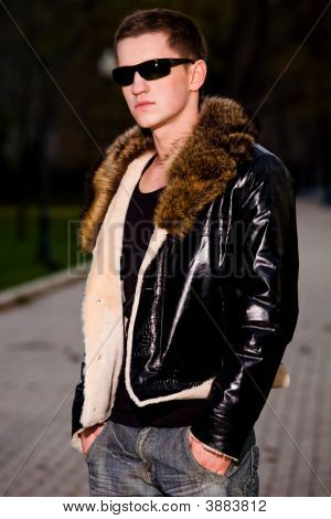 Attractive Young Guy In Winter Leather Jacket