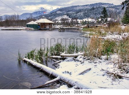 Lake With Snow Along Shore
