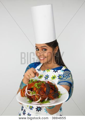 Asian Female Chef With Her Roasted Chicken