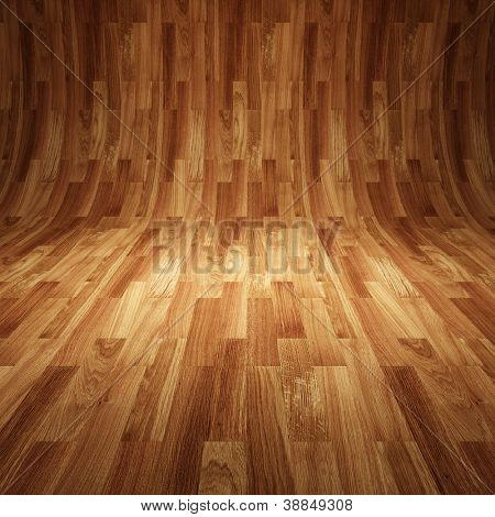 abstract  interior with wooden floor and wall