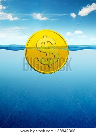 afloat dollar coin, 3d render