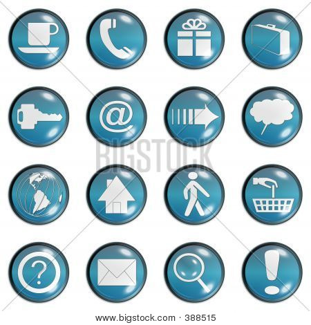 Blue Teal Web Site Buttons Set