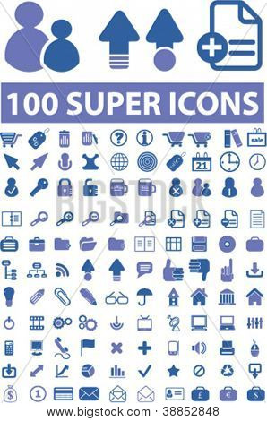 100 super isoliert Icons Set, Vektor