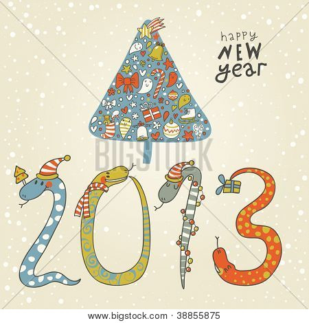 2013 - Year of the snake. Cute New Year background with a snake concept