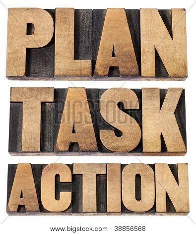 plan, task, action - a collage of isolated words in vintage letterpress wood type