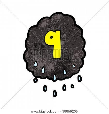 cartoon rain cloud with number nine