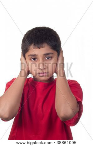 An handsome indian kid not willing to hear