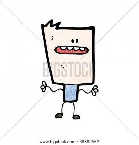cartoon square head boy