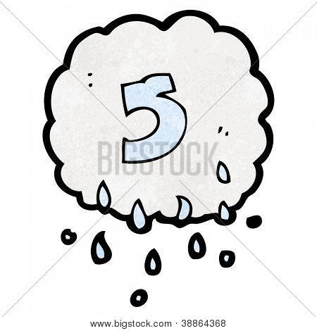 cartoon raincloud with number five
