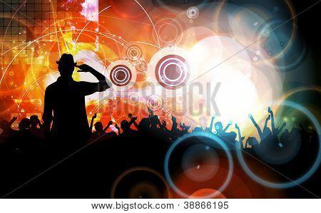 Music event illustration. Dancing people