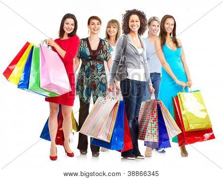 Group of  woman with shopping bags. Isolated over white background.