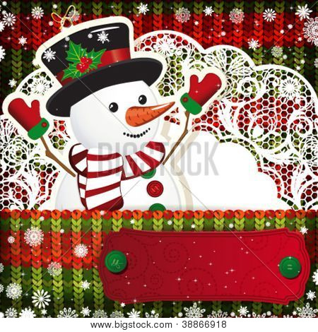 Christmas decorations on handmade knitted background.