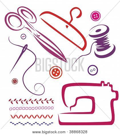 Sewing Tools And Objects Set