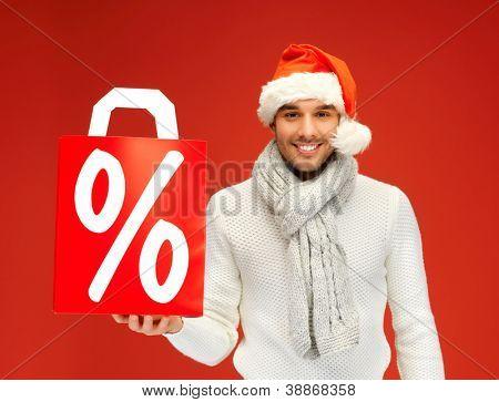 imagens brilhantes de homem bonito chapéu de Natal.