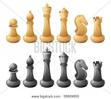 Black and white chessmans
