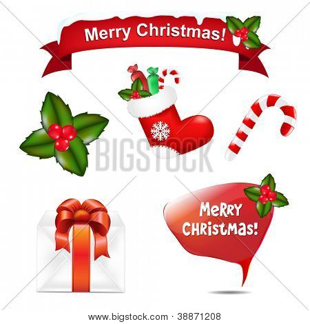 4 Merry Christmas Icons And Speech Bubble, Vector Illustration