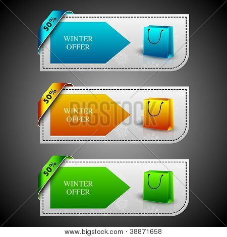 Winter offer banners with shopping bags. EPS 10.