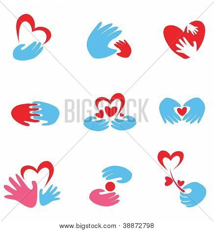 Hands And Heart Set Of Symbols