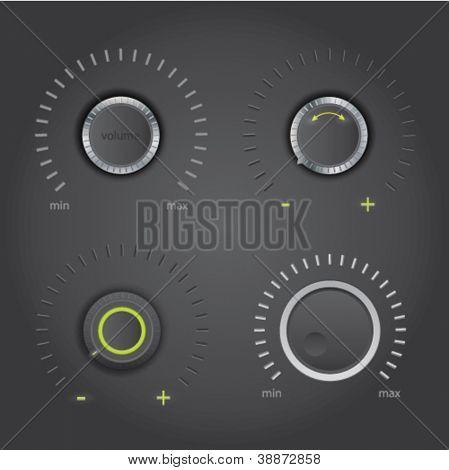 Volume control knob set - dark design, vector