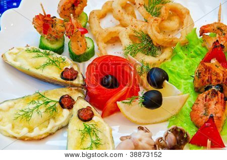 variety eatable seafood set on the dish