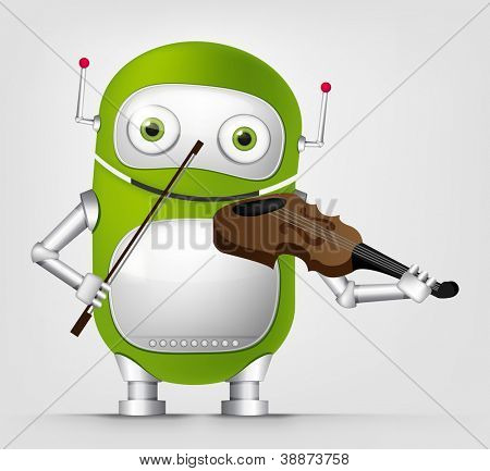 Cartoon Character Cute Robot Isolated on Grey Gradient Background. Violinist. Vector EPS 10.