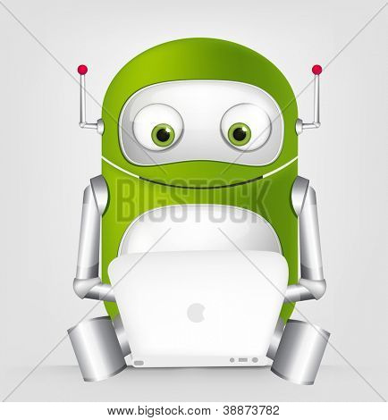 Cartoon Character Cute Robot Isolated on Grey Gradient Background. Coder. Vector EPS 10.