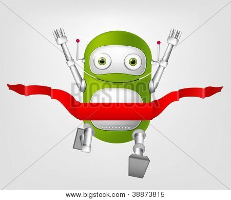 Cartoon Character Cute Robot Isolated on Grey Gradient Background. Finish. Vector EPS 10.