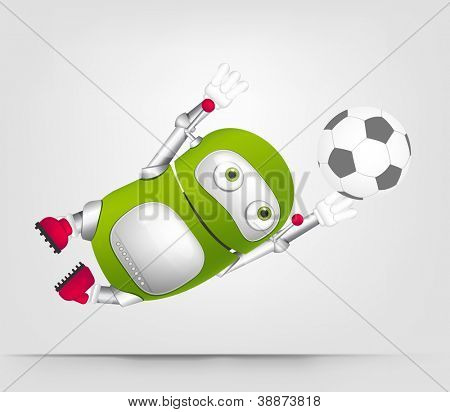 Cartoon Character Cute Robot Isolated on Grey Gradient Background. Soccer. Vector EPS 10.