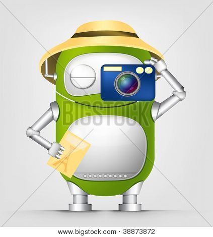 Cartoon Character Cute Robot Isolated on Grey Gradient Background. Tourist Photographer. Vector EPS 10.
