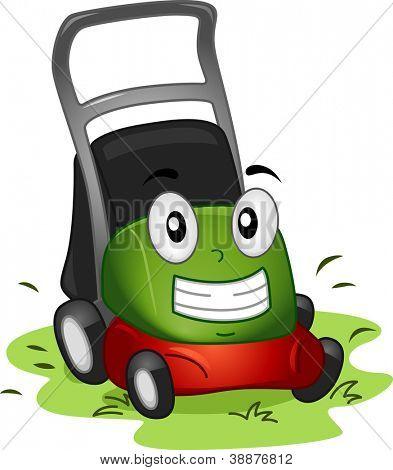 Ilustração de mascote com um cortador de grama no local de trabalho