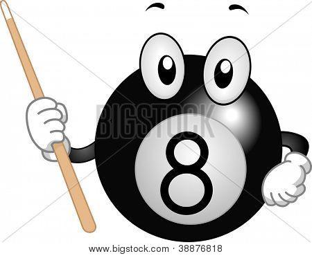 Mascot Illustration Featuring a Billiard Ball Holding a Cue Stick