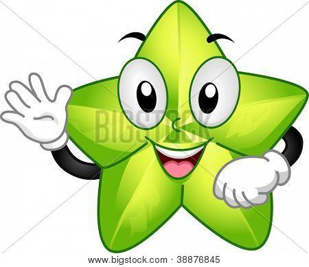 Mascot Illustration Featuring a Starfruit Waving