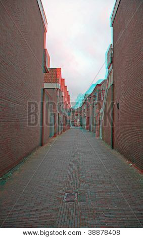 3D photo of the old Holland town.(need red-cyan anaglyph glasses)